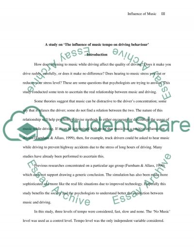 Music Tempo and Driving Behavior essay example