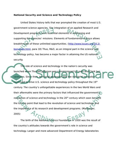 High School Essay Samples  The Yellow Wallpaper Critical Essay also Examples Of An Essay Paper National Security And Science And Technology Policy Essay Examples Of A Thesis Statement For A Narrative Essay
