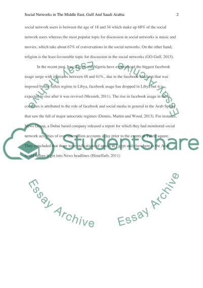 Social Networks in the Middle East, Gulf and Saudi Arabia essay example