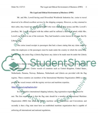 The Legal and Ethical Environment of Business Essay essay example