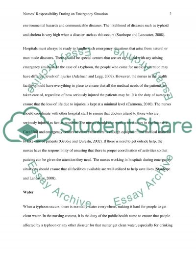 Nurses Responsibility During an Emergency Situation essay example