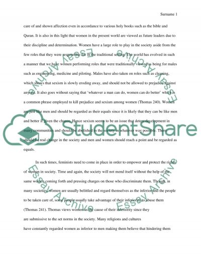 Sexism and Racism Based on Laurence Thomas Sexism and Racism essay example