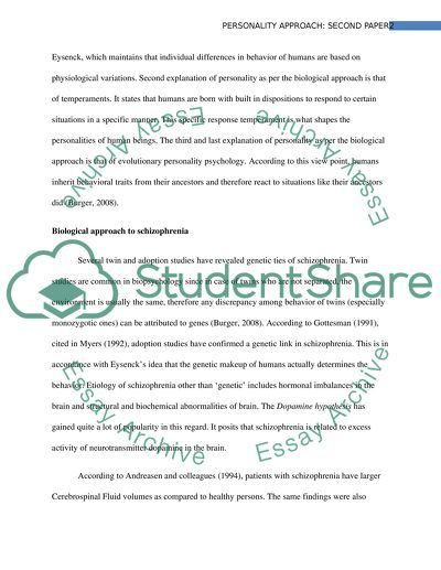 Personality Approach Paper