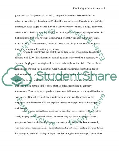 Fred Bailey An Innocent Abroad(1) Exam case study essay example