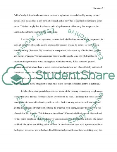 Social contract theory essay example