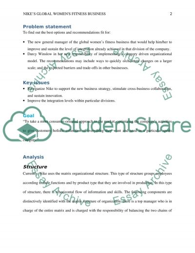 Nikes Global Womens Fitness Business essay example