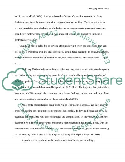 Managing Patient safety essay example