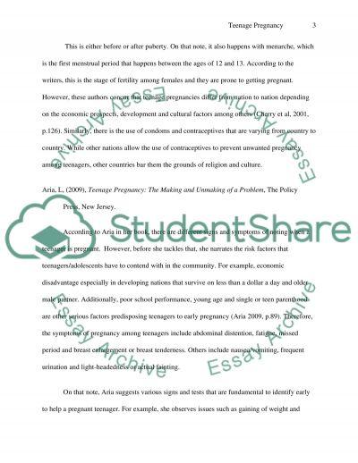 Teenage Pregnancy Literature Review essay example