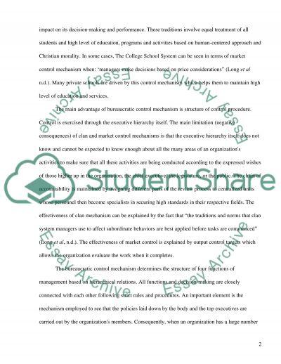 Control Mechanisms Paper essay example