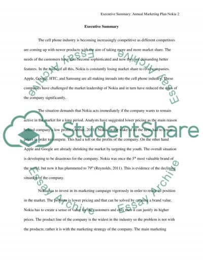 Annual Marketing Plan Nokia Essay example