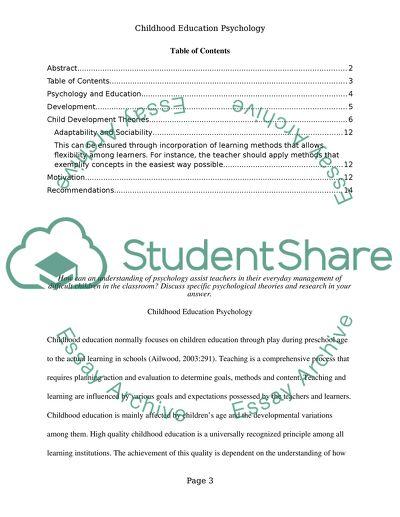 psychology essay on child development
