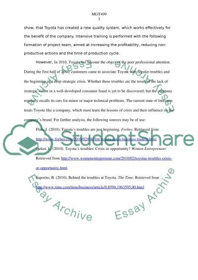 MGT499 - Strategic Management essay example