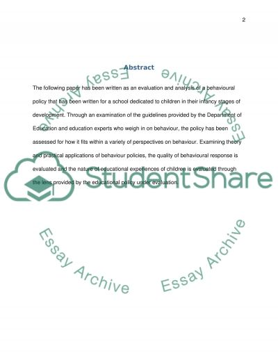 Policies and Frameworks Assignment: Behaviour and Attendance School Policy essay example