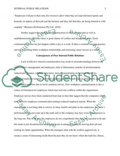 Internal Public Relations essay example