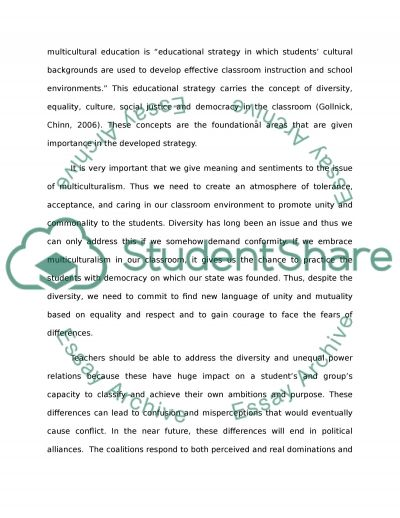 Creating a Plan for a Culturally Diverse Classroom essay example