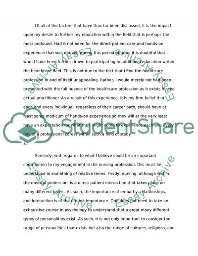 patient care provided influence in my career as student Cnnt case study: importance of mentoring in nursing education  consultation, and career advancement  effective care, and ensures patient safety.