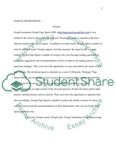 Google tools essay example