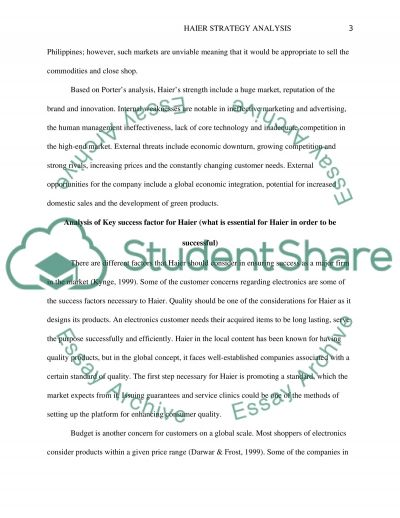 haier strategy analysis research paper example topics and well  haier strategy analysis essay example