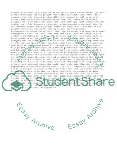 procurement essay examples