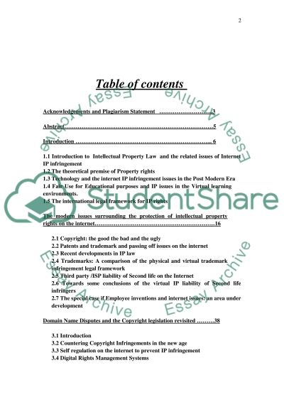 Intellectual property Coursework essay example