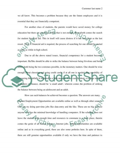 Financial Securtiy for College Students essay example