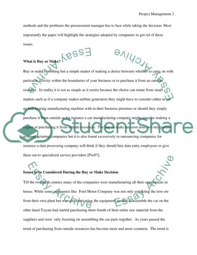 Project Procurement1 essay example