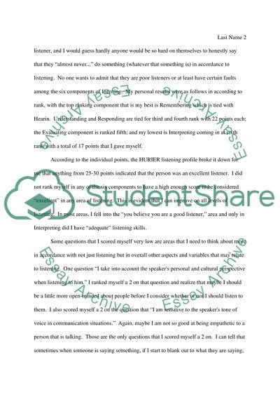 hurier listening self assessment essay example