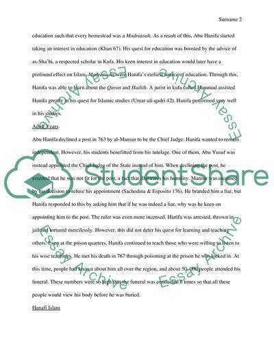Essay on a religious leader - Abu Hanifa