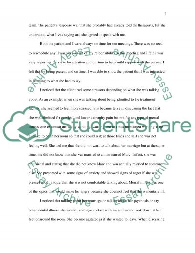 Relationship Study - Psychosis Patient in Mental Health Facility essay example
