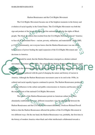 Short Essays For High School Students Harlem Renaissance And The Civil Rights Movement  Essay Example Thesis Statements For Argumentative Essays also College Essay Paper Format Harlem Renaissance And The Civil Rights Movement Essay Science And Technology Essays
