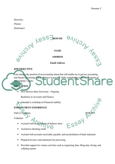Application For Accounting Intern Position Resume Cv