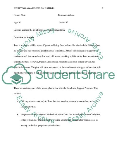 Lesson plan for special education