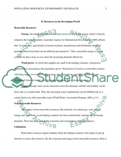 Population, Resources, Environment, and Health [in the Developing World] essay example