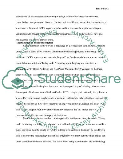 Staff Study Format essay example