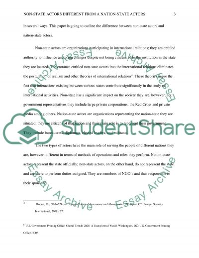 Non State Actors Different From A Nation State Actors Essay