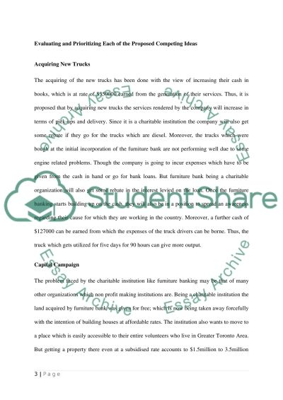 Case study furniture bank Term Paper example