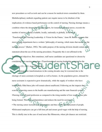 Ethical Manuscript - Ethical consequences/implications of nursing shortages essay example