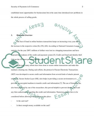 The Security payment in E- commerce essay example
