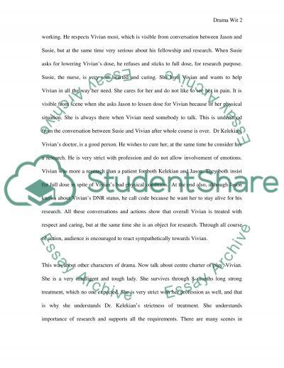 Drama Wit essay example
