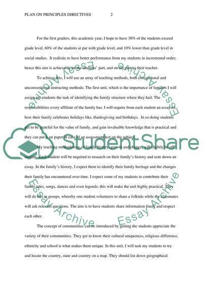 Write plan addressing principals directives