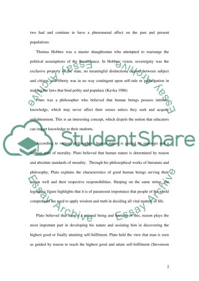 Human Nature and Government essay example