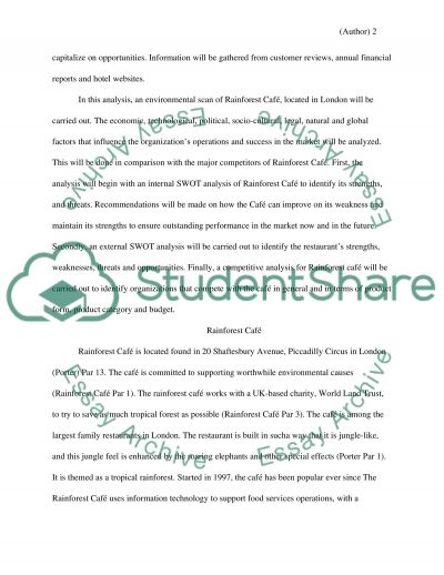 Rainforest Cafe marketing reseach paper essay example