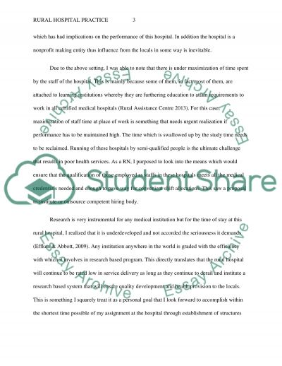 Rural/Community Hospital Role Transition Essay example