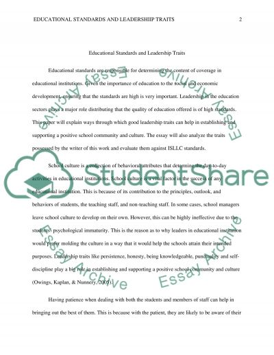 Educational Standards and Leadership Traits essay example