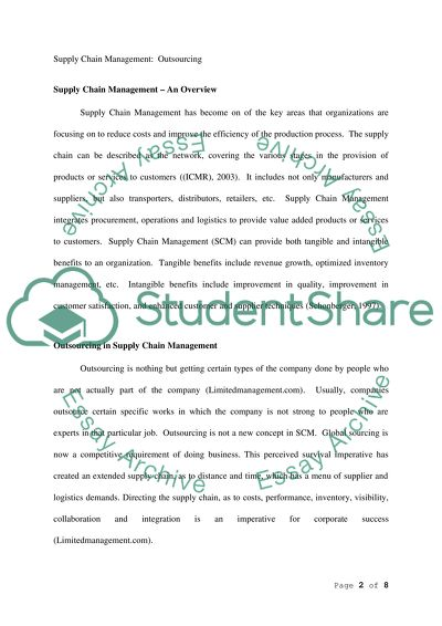 Supply Chain Management College Essay
