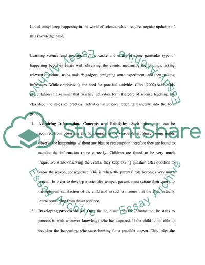 Development Of Childrens Scientific Skills And Knowledge Essay   Development Of Childrens Scientific Skills And Knowledge
