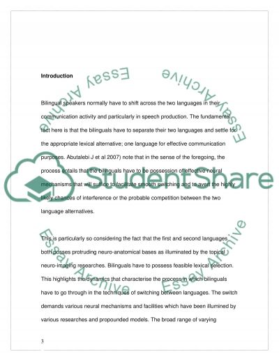 The Cost of Language Switch of Bilinguals essay example