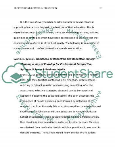 Professional Rounds in Education (Resources 7-12) essay example