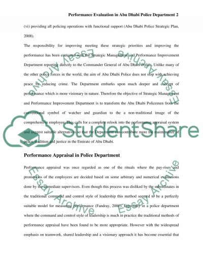 Performance Evaluation and Measurement in Abu Dhabi Police Department essay example