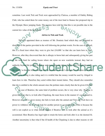 Equity and Trust Degree Essay